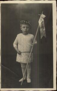 Little Boy in Costume Religious Easter? Latin ECCE AGNUS DEI Real Photo Postcard
