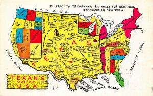 LPM23 Texan's Map of U. S. A. Chrome Postcard
