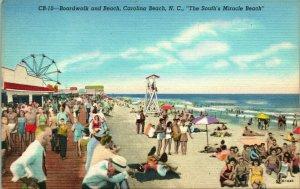 Vtg Linen Postcard Carolina Beach North Carolina NC Boardwalk and beach UNP