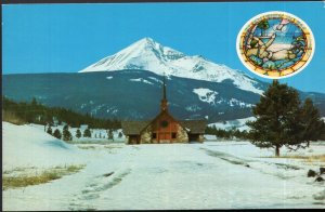 Montana Soldier's Chapel Big Sky of Montana Lone Mountain in Background -Chrome