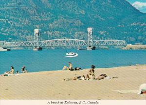 Canada Kelowna Beach Scene On Okanagan Lake