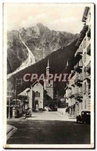 Old Postcard Chamonix Place of & # 39eglise and Brevent