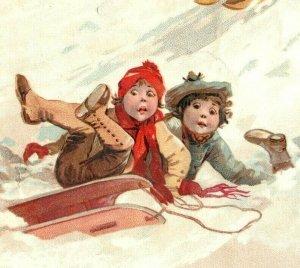 1893 Christmas Lion Coffee Woolson Spice Co. Children Sledding Snow *D