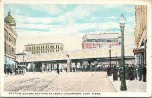 Lynn Massachusetts~Central Square~New Railroad Underpass~Olympia~Burrill~1921 PC