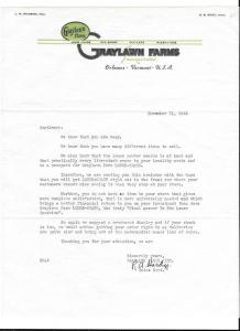 1945 Sales Letter Louse Chase Graylawn Farms Orleans VT