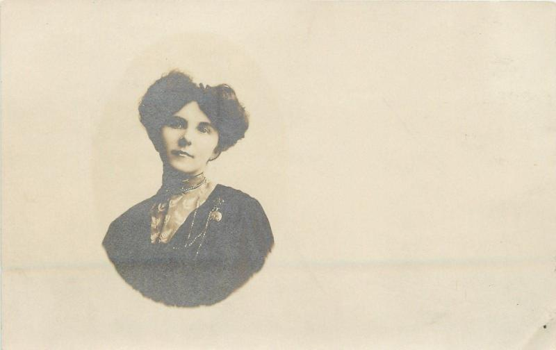 Vintage Real Photo Postcard~Cameo Portrait~Victorian Lady~Brooch Chain~RPPC