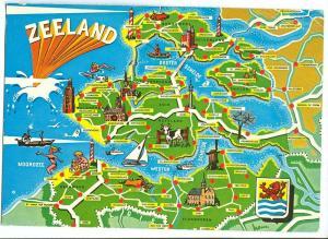 Netherlands, Zeeland, map, 1973 used Postcard