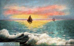 Mississippi Gulf Coast Sailing At Twilight