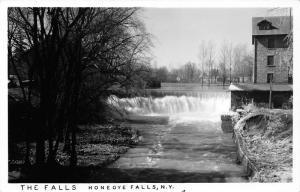 Honeoye Falls New York~The Falls on Honeoye Creek~Stone Building~Bare Trees~RPPC