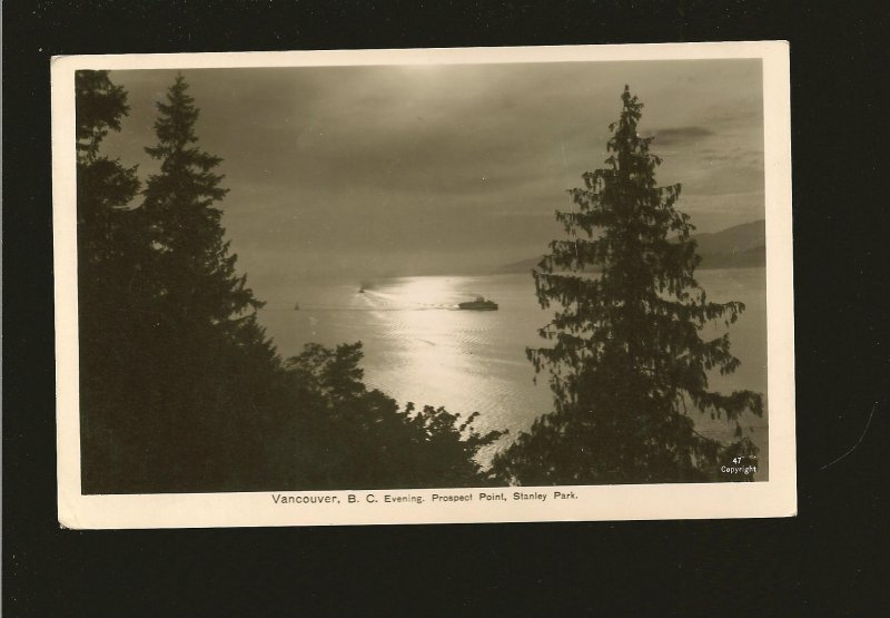 Canada Postmark 1936 Vancouver BC Evening Prospect Point Real Photo Postcard