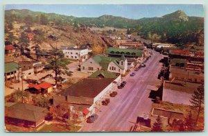 Estes Park Colorado~Elkhorn Avenue Birdseye View~Cafe~Classic Cars~1950