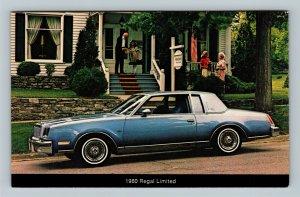 Car- 1980 Buick Regal Limited 2 Door, Blue, Family Home, Chrome Postcard
