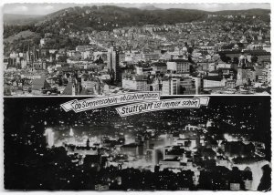 Stuttgart, Germany.  Panoramic View of Stuttgart Day and Night. Use with Stamp.