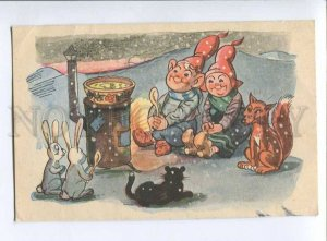 3041161 Funny Finnish GNOMES w/ FOX & HARES vintage