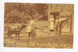 Hiram, Did you milk the cow? , Farm greetings PU-1912