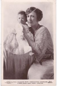Post Card Royalty  H.R.H. Princess Mary Viscountess Lascelles  & Son