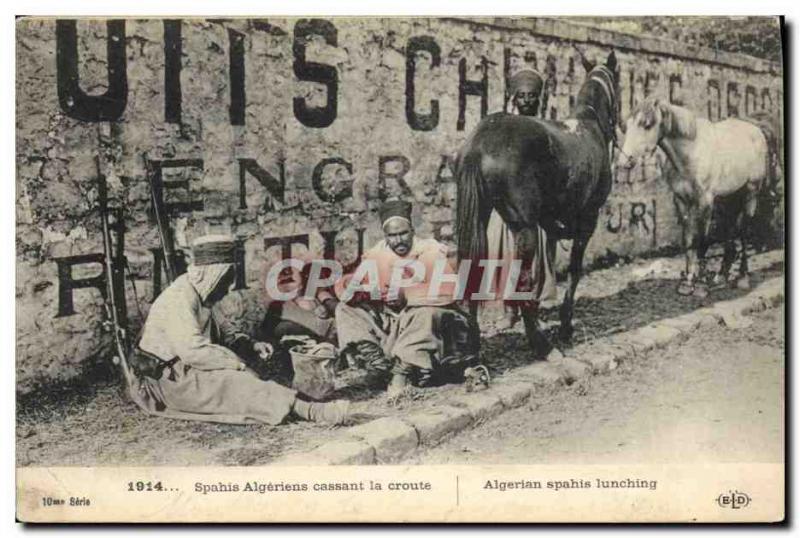 Old Postcard Army Spahis Algerian brittle crust