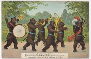 Animals; Anthropomorphic Swiss Bears Marching Band, Bernersmarsch PPC By Gwinner