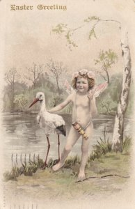 EASTER, PU-1906; Greeting, Cherub standing next to Stork by the waterside