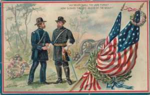 TUCK #158; Soldiers shaking hands at Memorial Site, Cannon,  U. S. Flag, PU-1909