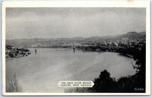 Chester, West Virginia Postcard Bird's Eye View OHIO RIVER BRIDGE Dexter 1940s