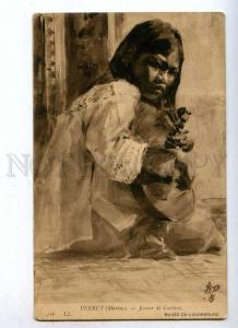 187854 Guitar Player BEGGAR Child by Marius PERRET Vintage PC