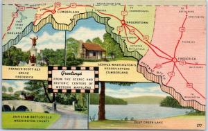 Maryland Map Postcard Greetings from Western Maryland Linen c1940s Unused
