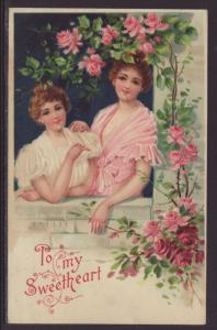 To My Sweetheart,Roses,Women Postcard