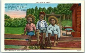 1940s Black Americana Postcard Three of a Kind Black Boys on Fence Metro Linen