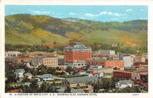 Rapid City South Dakota Birds Eye View Alex Johnson Hotel Postcard J73400