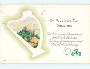 Divided-Back st. patrick PICTURE ON OLD ERIN'S HARP o4928