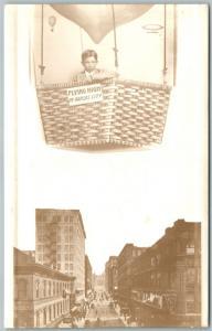 BALLOON OVER KANSAS CITY MO PHOTOMONTAGE 1911 ANTIQUE REAL PHOTO POSTCARD RPPC
