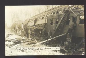 RPPC GLADBROOK IOWA MARCH 21 1910 TRAIN WRECK RAILROAD REAL PHOTO POSTCARD