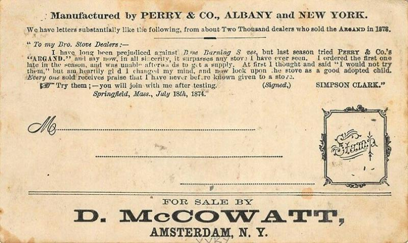 Albany NY & NYC Early MULTI-COLOR Argand Stove Advertising Postal Card