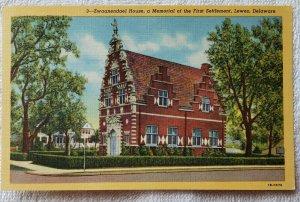 Linen Postcard: Zwaanendael House, First Settlement,  Lewes, Delaware