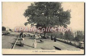 Old Postcard Pau Boulevard des Pyrenees