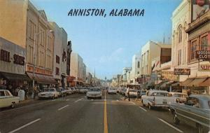 Anniston AL~Noble Street @ 10th~Woolworth's~Shoes~Clothing Store~1950-60s Cars