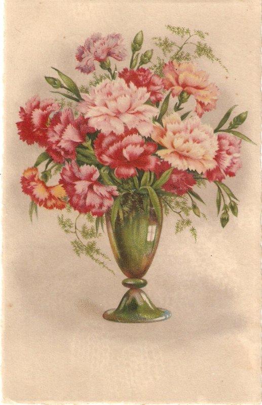 Flowers in vase Nice vintage Spanish postcard