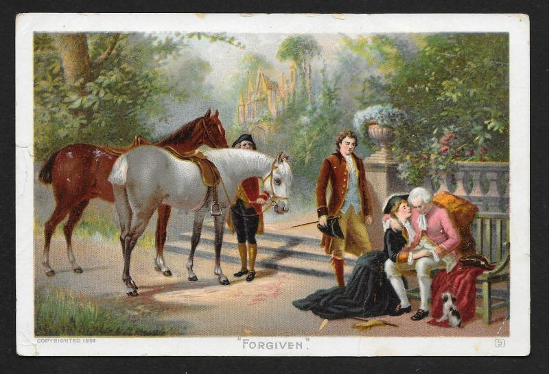 VICTORIAN TRADE CARD Newboy Plug Tobacco Fancy Couple & Horses 'Forgiven' c1893