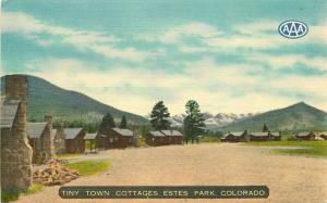 Estes Park Colorado 1940s Tiny own Cottages Postcard Thomas linen 3344