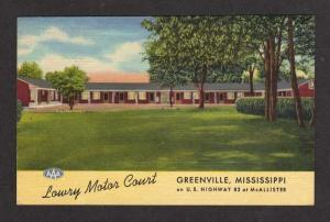 MS Lowry Motor Court Motel GREENVILLE MISSISSIPPI PC