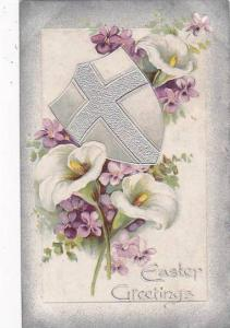 Easter Cross On Shield With Flowers