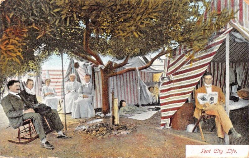 CALIFORNIA~TENT CITY LIFE-NEWMAN PUBL POSTCARD 1910s