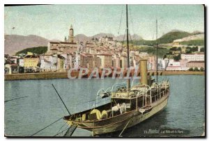 Postcard Menton Old Town and Fort Boat
