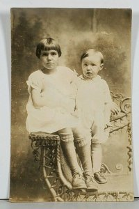 RPPC Young Girl and Toddler Pose for Photo Hagerstown Md Family Est Postcard K2