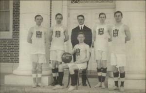 Gill MA Mount Mt. Hermon Boys Basketball Team c1910 Real Photo Postcard CRISP