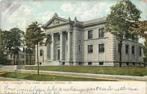 Decatur Illinois~Carnegie Free Public Library~Demolished 1970~1907 Postcard