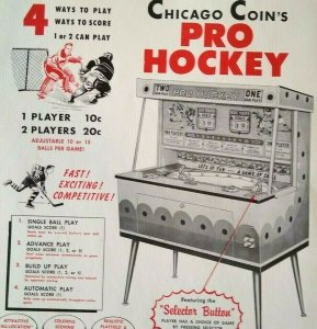 Chicago Coin Pro Hockey Arcade FLYER 1961 Original NOS Mechanical Game Artwork
