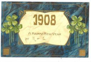 A Happy New Year 1908, four leaf clove, PU-1907