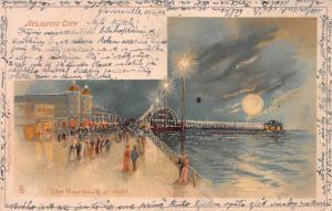 The Boardwalk at Night, Atlantic City, N.J., Early Postcard, Used in 1903